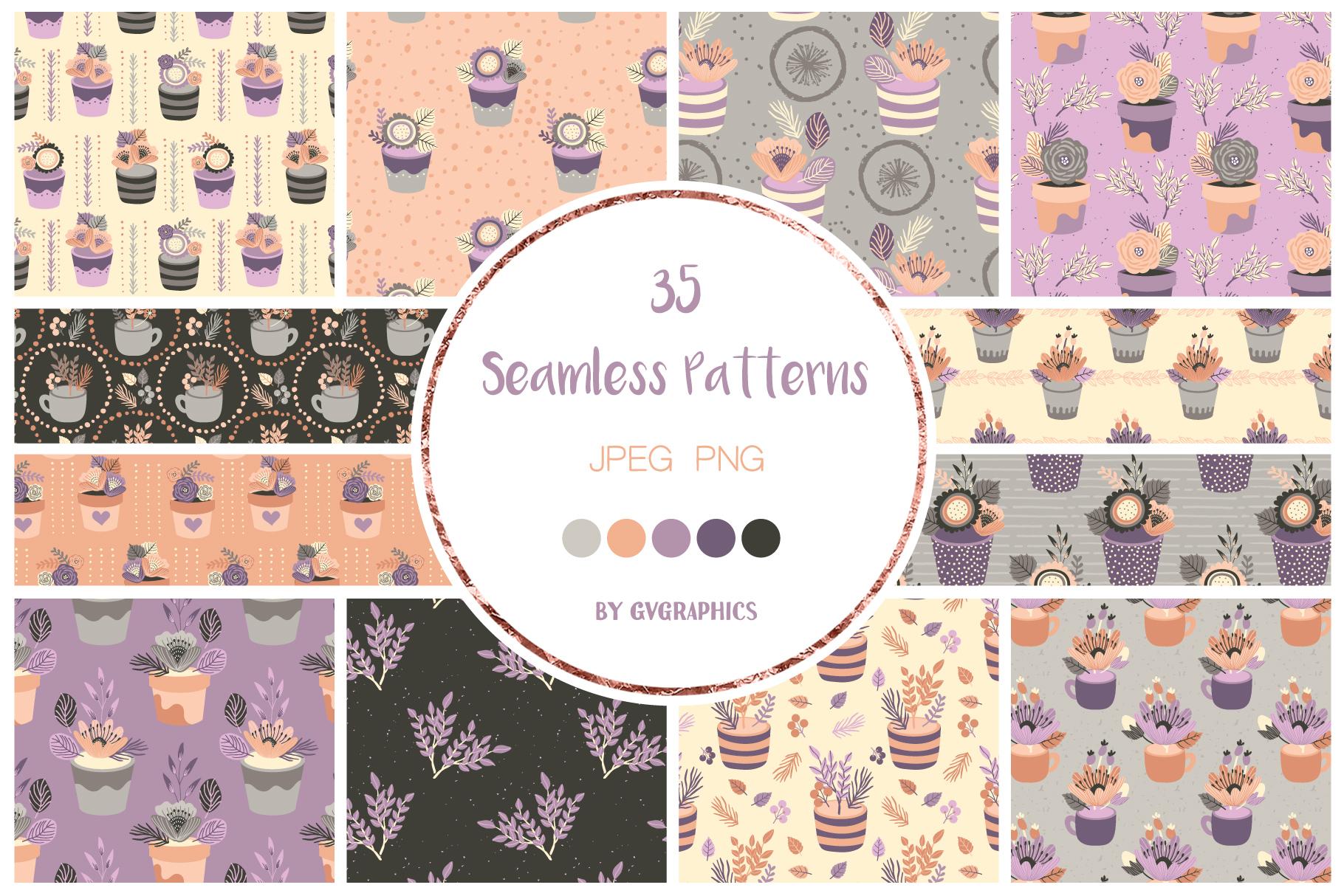 Examples Elegant Flowers Seamless Patterns