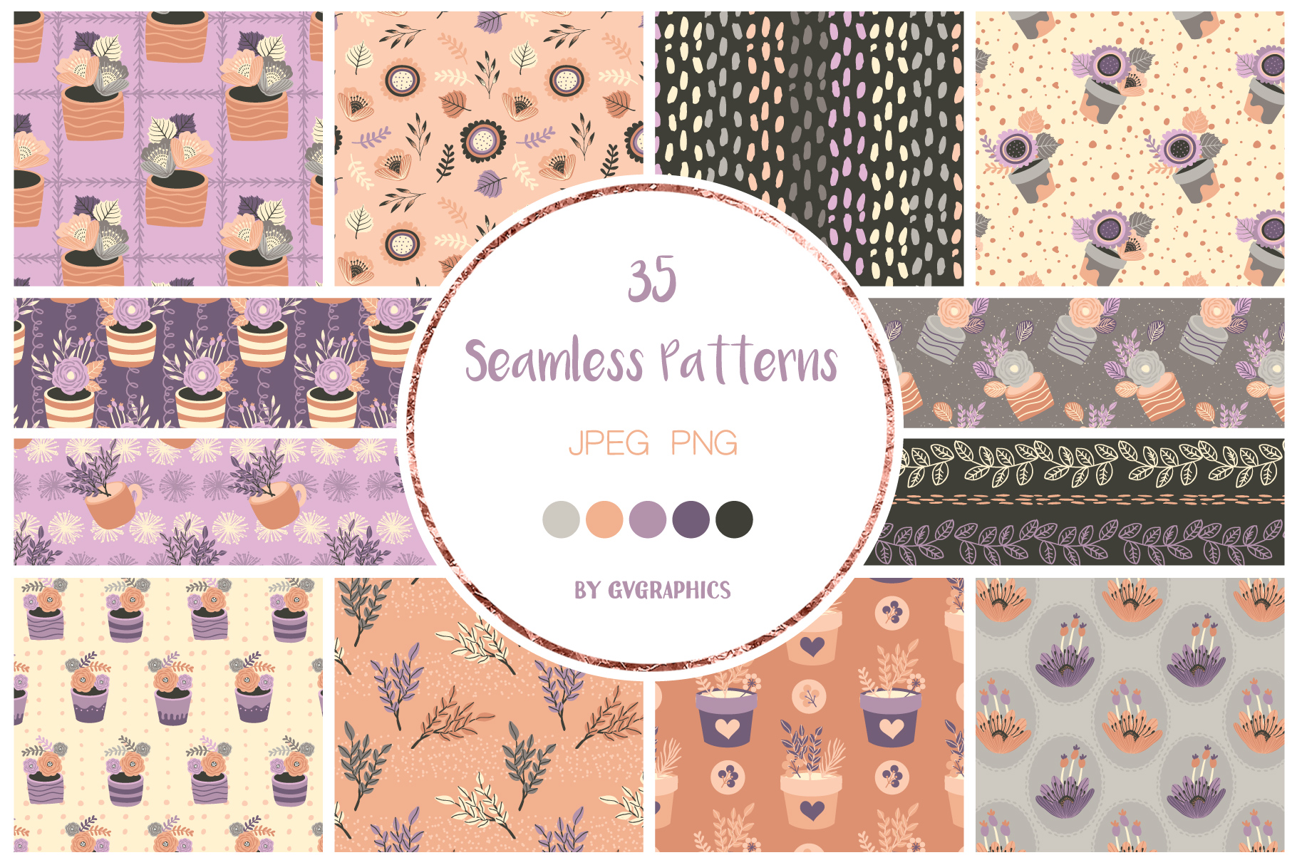 Examples Flowers Seamless Patterns