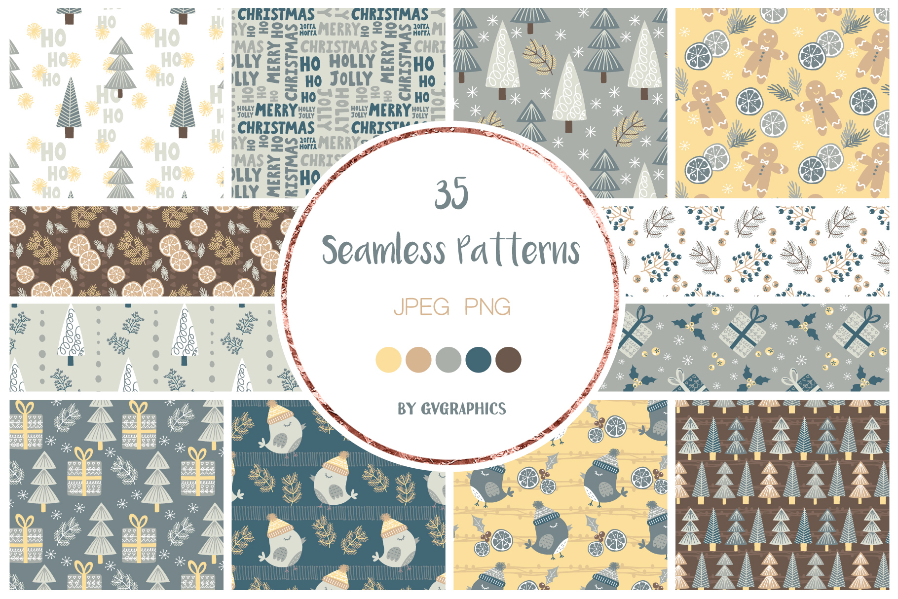 Examples Merry Christmas Seamless Patterns.