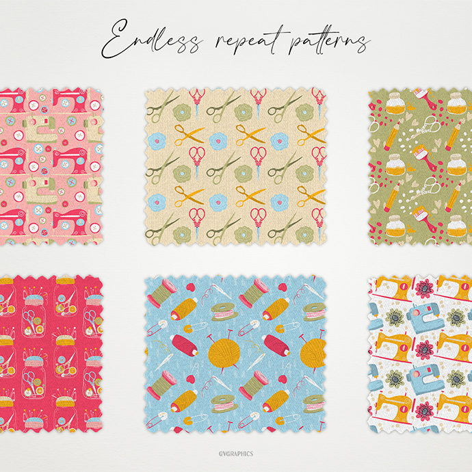 Examples Sewing Knitting and Flowers Repeat Seamless Patterns Preview.