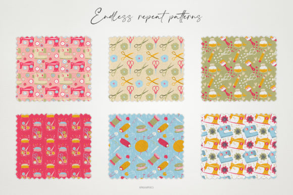 Examples Sewing Knitting and Flowers Repeat Seamless Patterns.