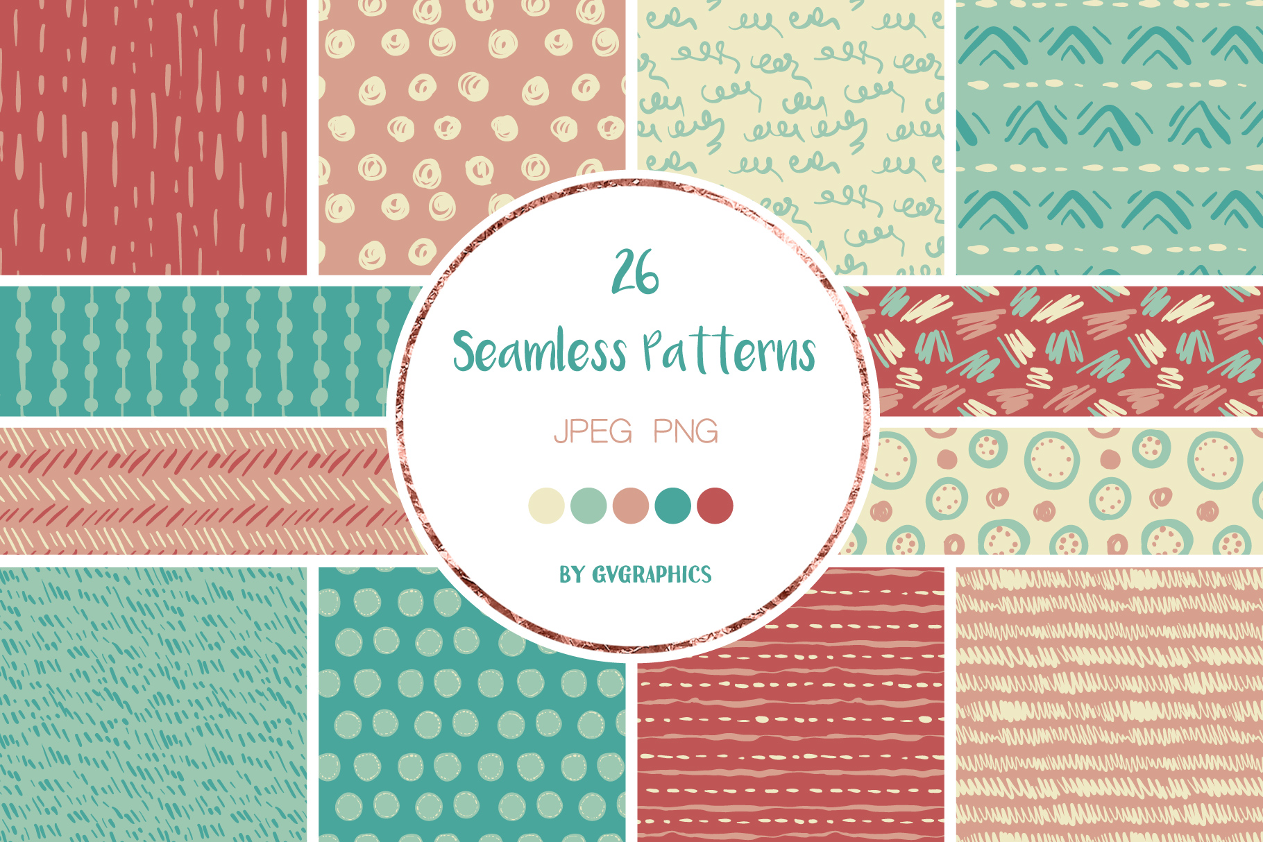 Examples of Hand Drawn Scribbles Colorful Seamless Patterns.