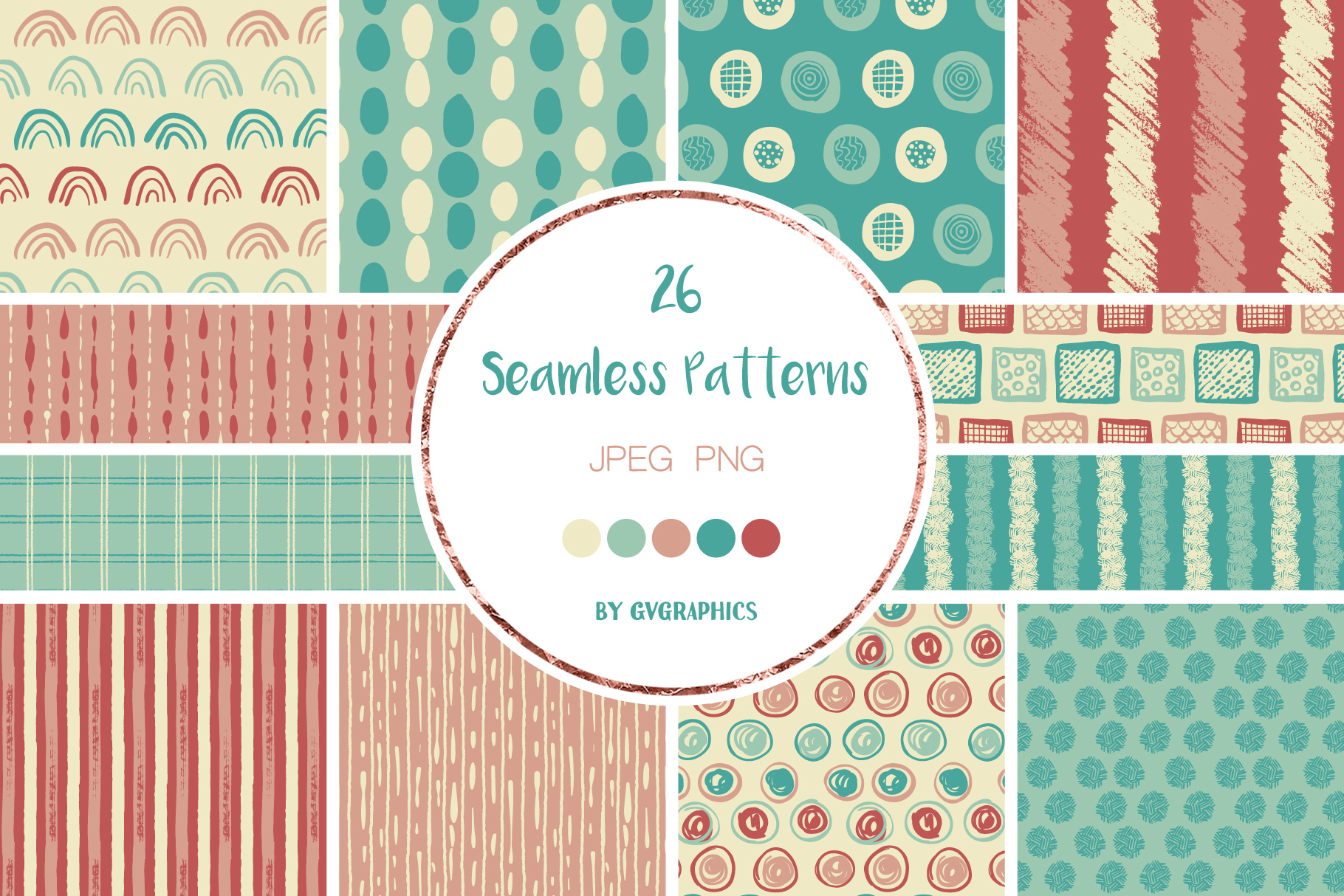 Examples of Hand Drawn Scribbles Seamless Patterns.