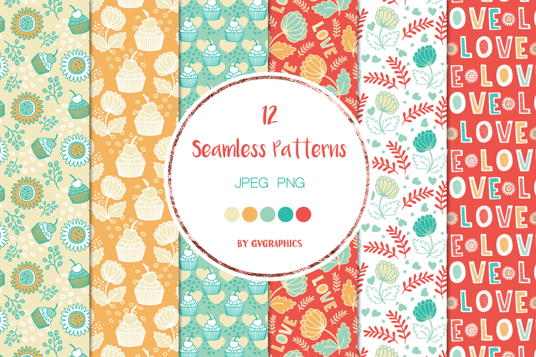 Exsamples Love and Flowersand Muffins Seamless Patterns.