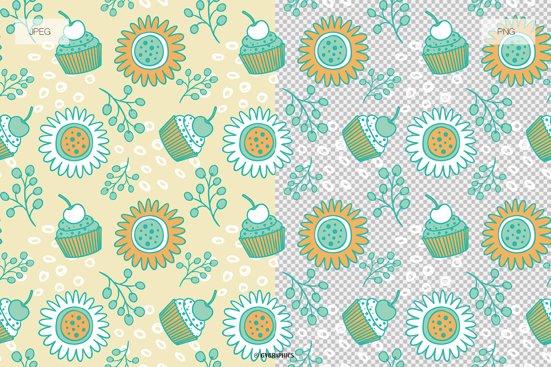 Exsamples Muffins and Flowers Seamless Patterns.