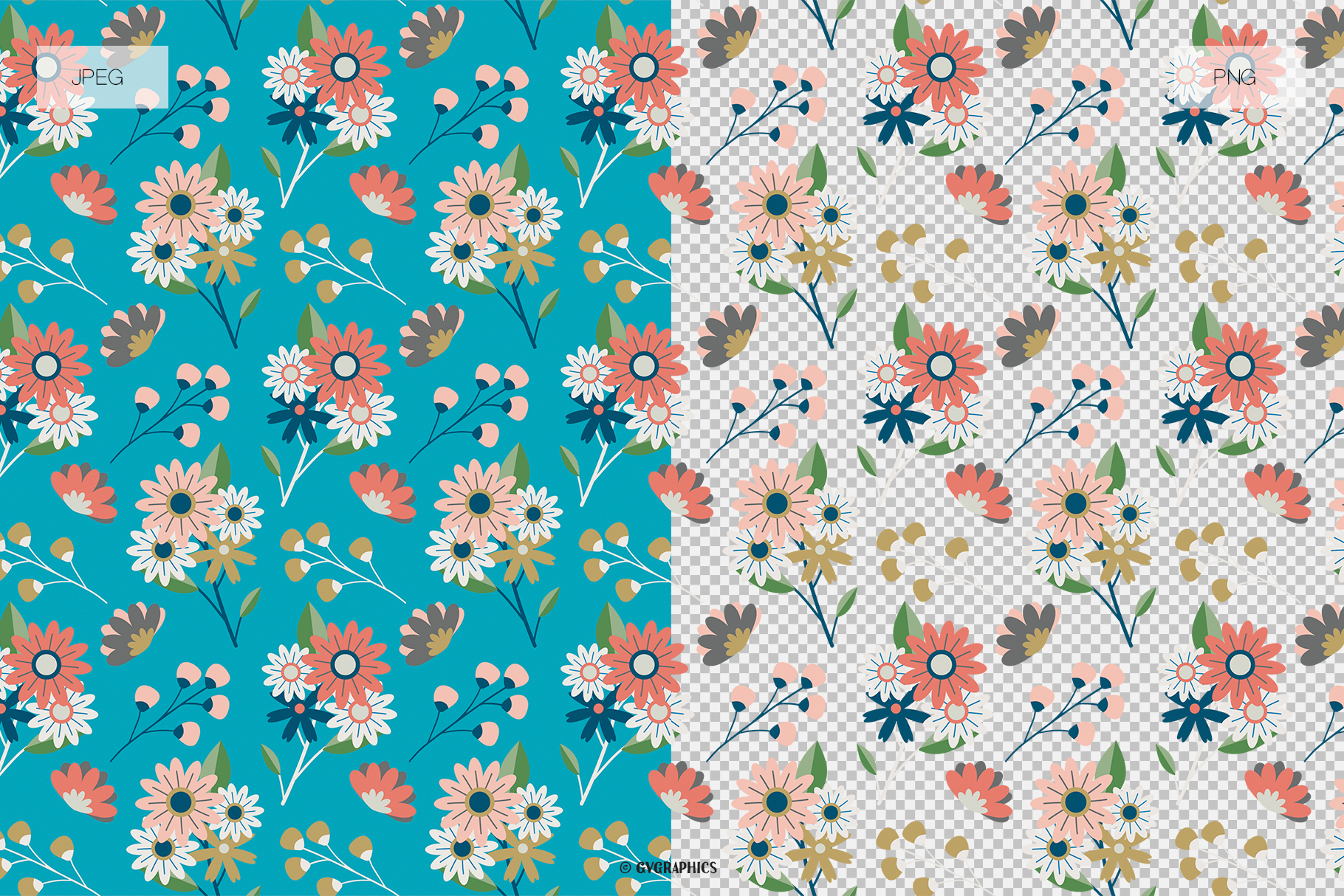 Flowers Berries and Teapots Seamless Patterns JPG and PNG Examples.