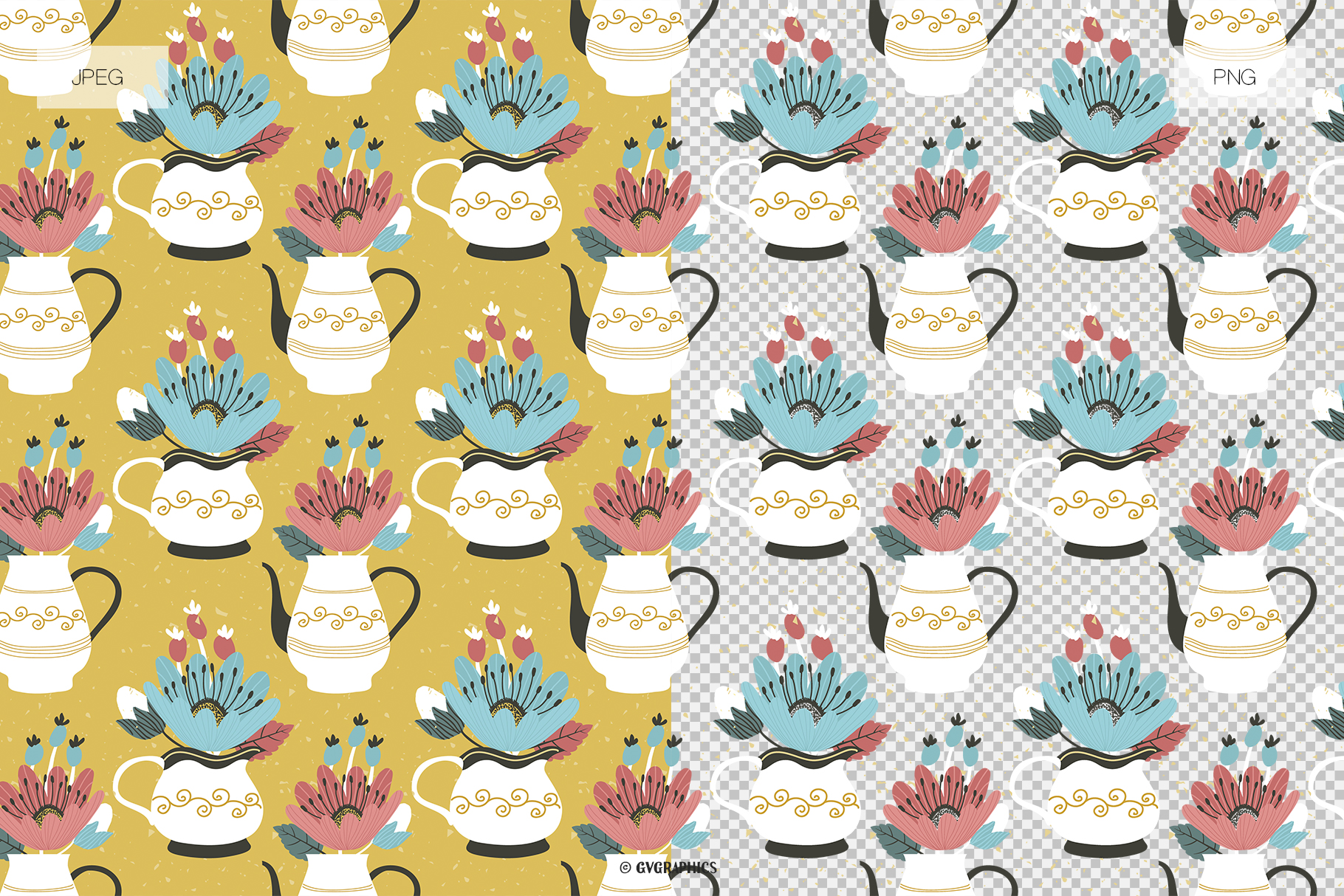 Flowers and Teapots Seamless Patterns JPG PNG