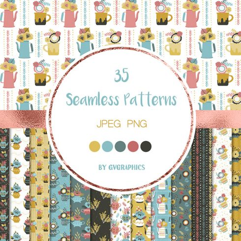 Flowers and Teapots Seamless Patterns Preview.