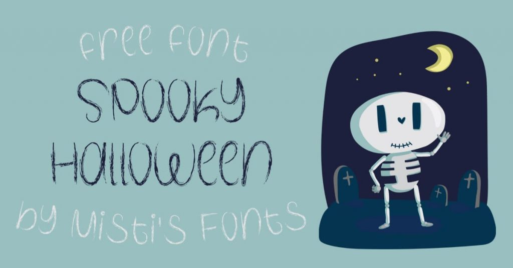 MasterBundles Free Spooky Halloween Font Facebook Collage Image.
