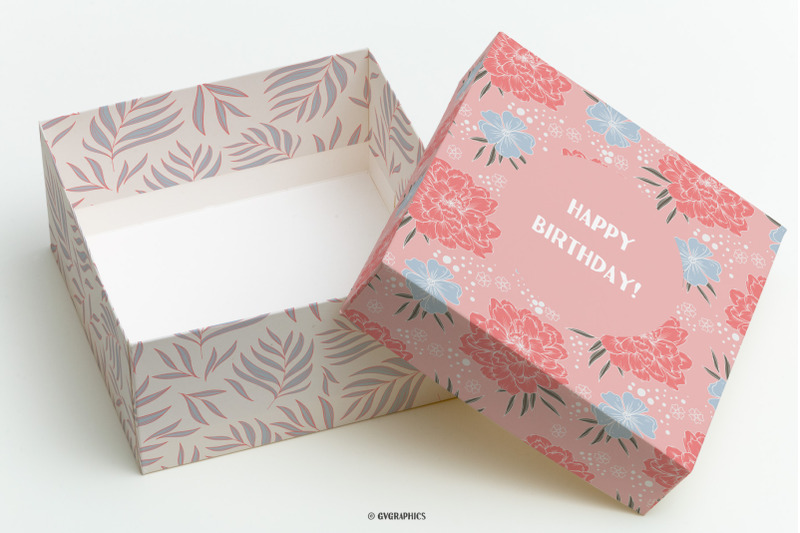 Gift Box Made On The Garden of Joy Floral Backgrounds Seamless Patterns.