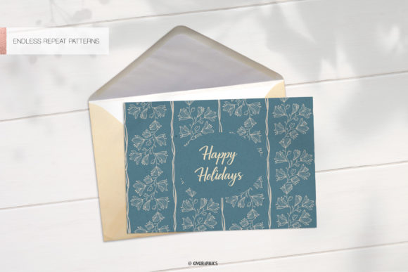 Greeting Card Made On The Delicate Flowers Botanical Patterns.