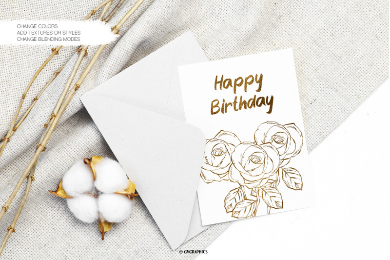 Greeting Card Made On The Hand Drawn Vector Flowers.