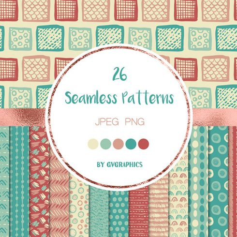 Hand Drawn Scribbles Colorful Seamless Patterns Preview.