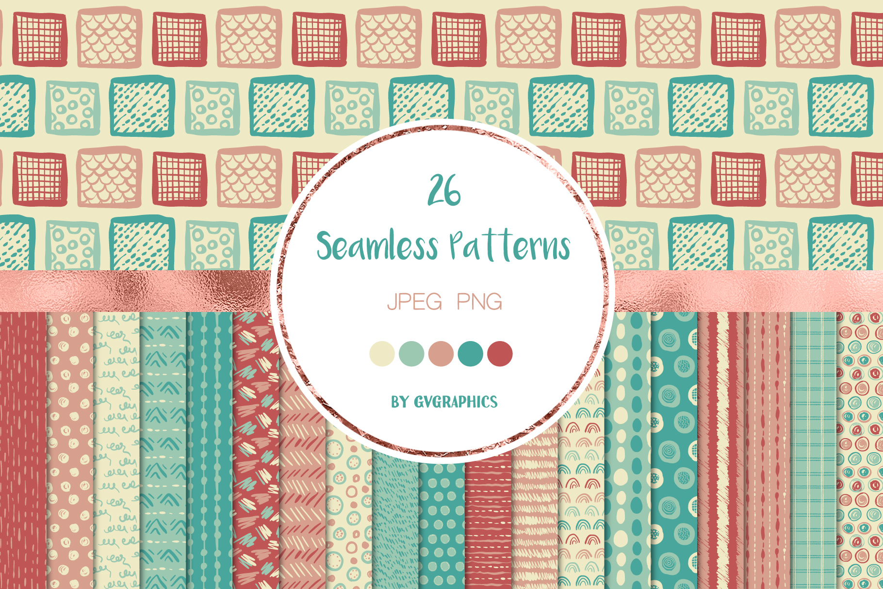 Hand Drawn Scribbles Colorful Seamless Patterns.