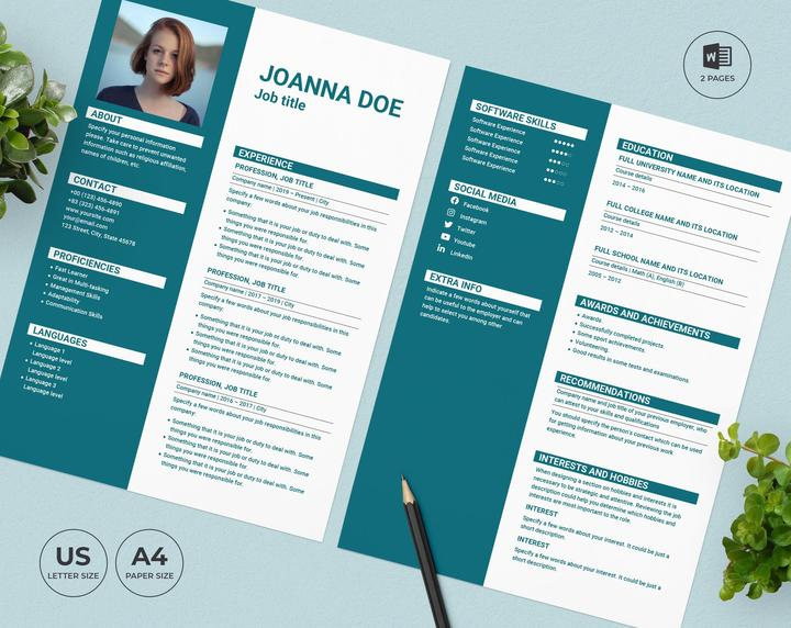 Hotel Resume Template CV preview.