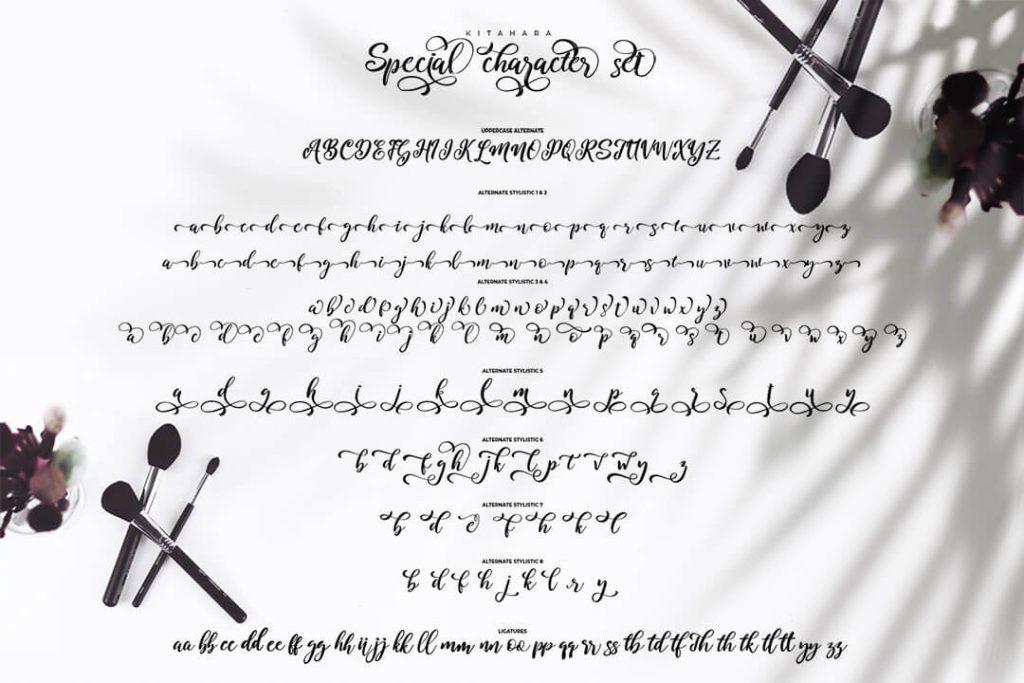 Kitahara Brush Script Font Alphabet Font Preview.