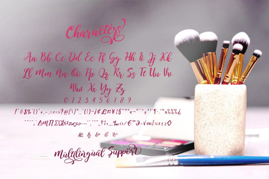 Kitahara Brush Script Font Collage Image with Characters.