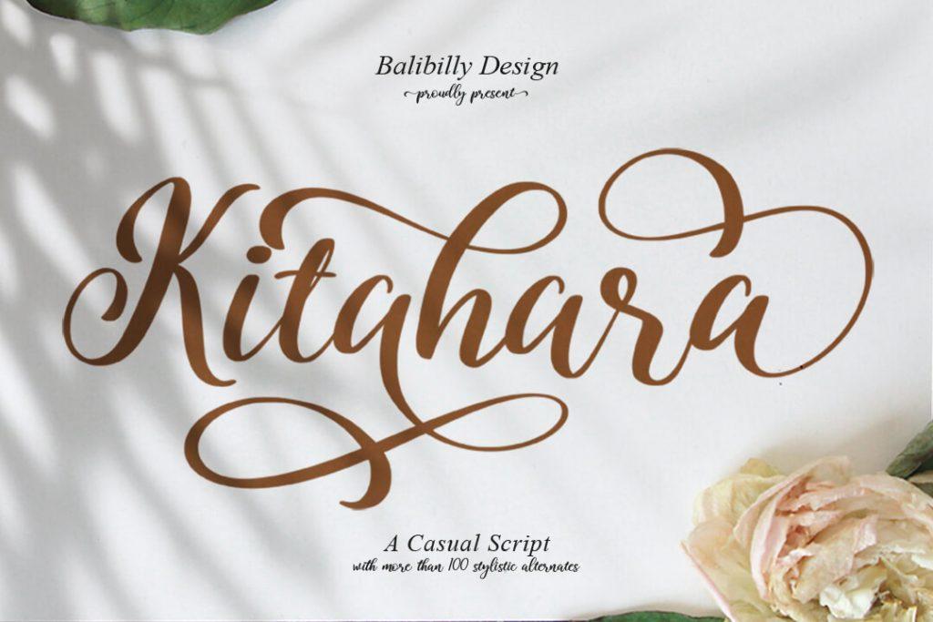 Kitahara Script Font Facebook Collage Image MasterBundles.