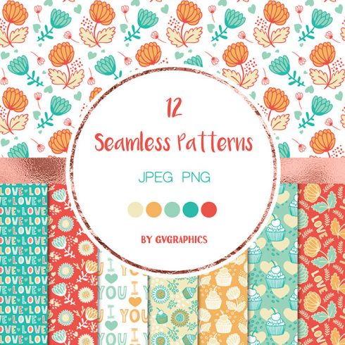 Love Muffins and Flowers Seamless Patterns Preview.