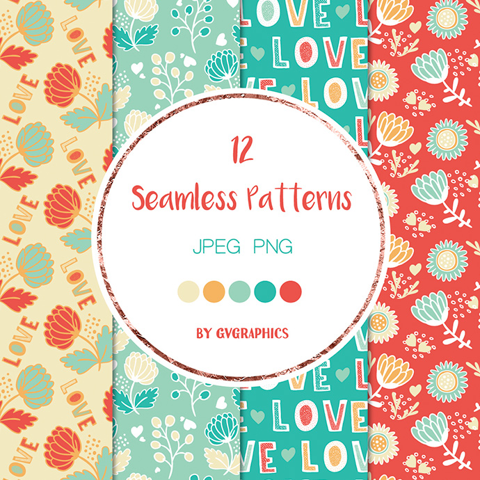 Love and Flowers Seamless Patterns Preview.