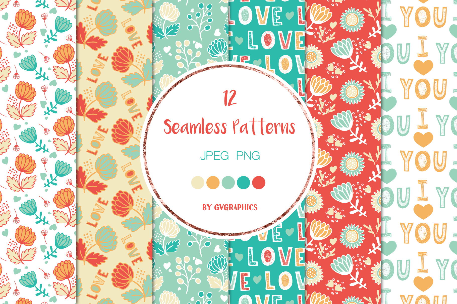 Love and Flowers Seamless Patterns.