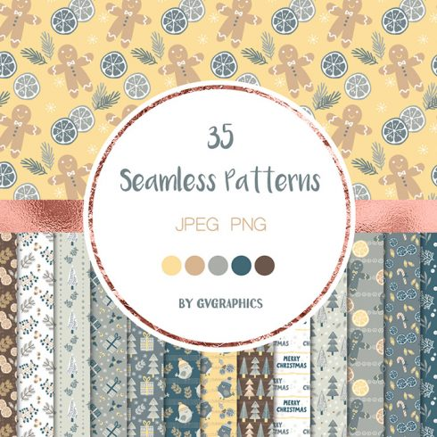 Merry Christmas Seamless Patterns Preview.