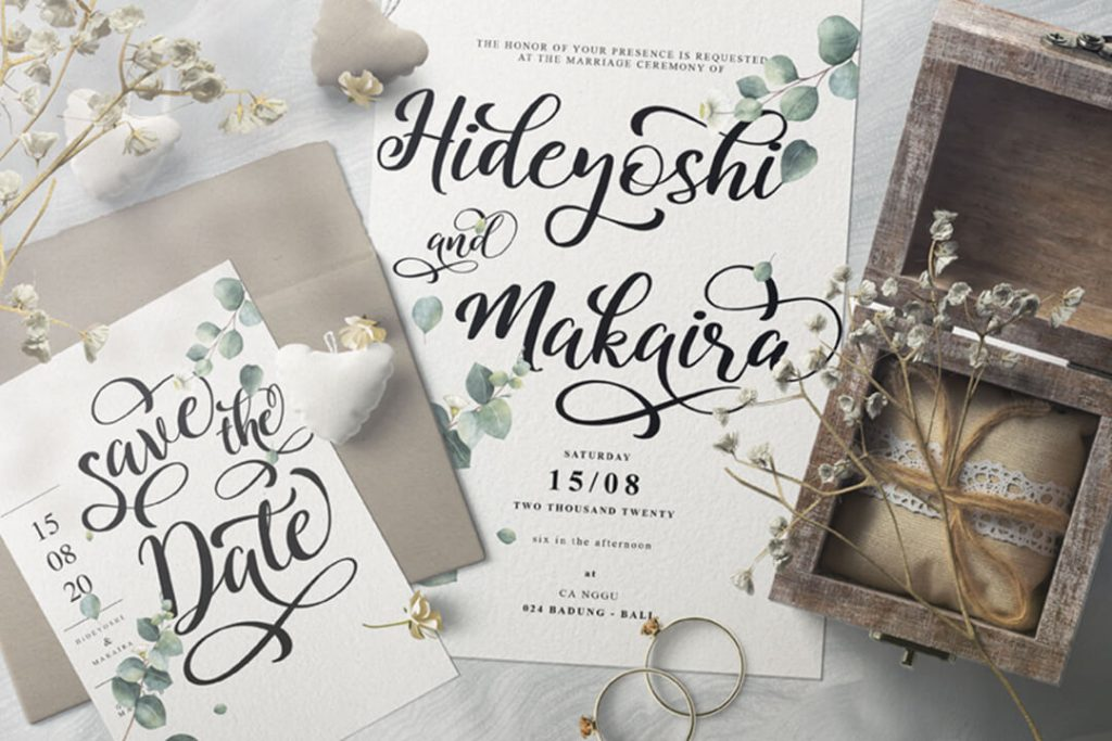 Modern Script Font Preview Collage Image.