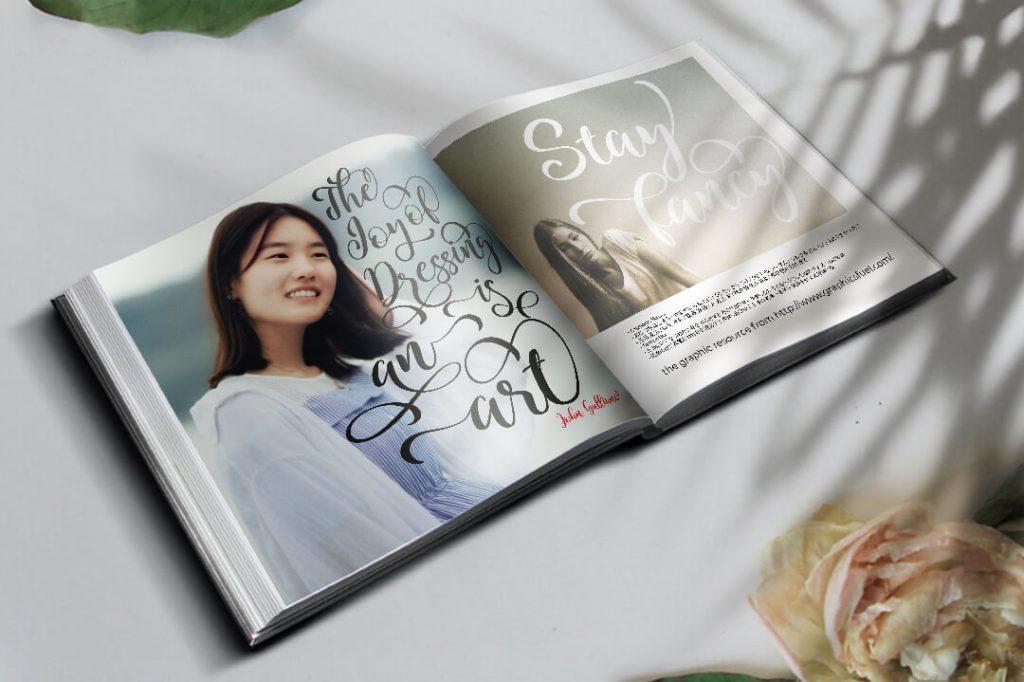 Modern Script Font Magazine Collage Image.