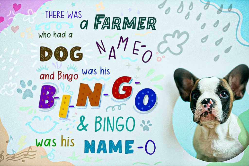 Collage Image with Dog for Moro Baby Fancy Font.