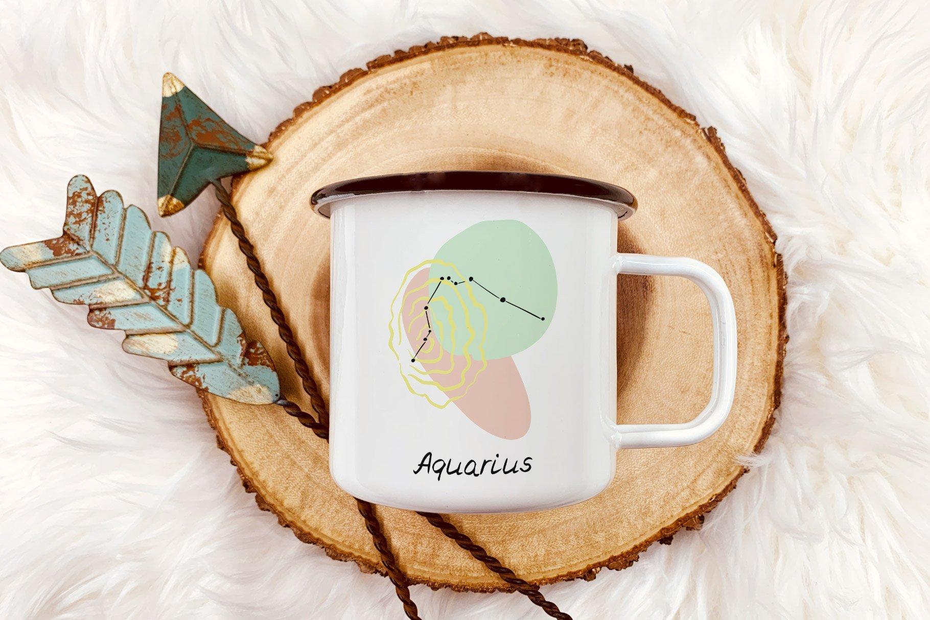 Mug Made On The Abstrac Zodiac Signs Vector Illustration.