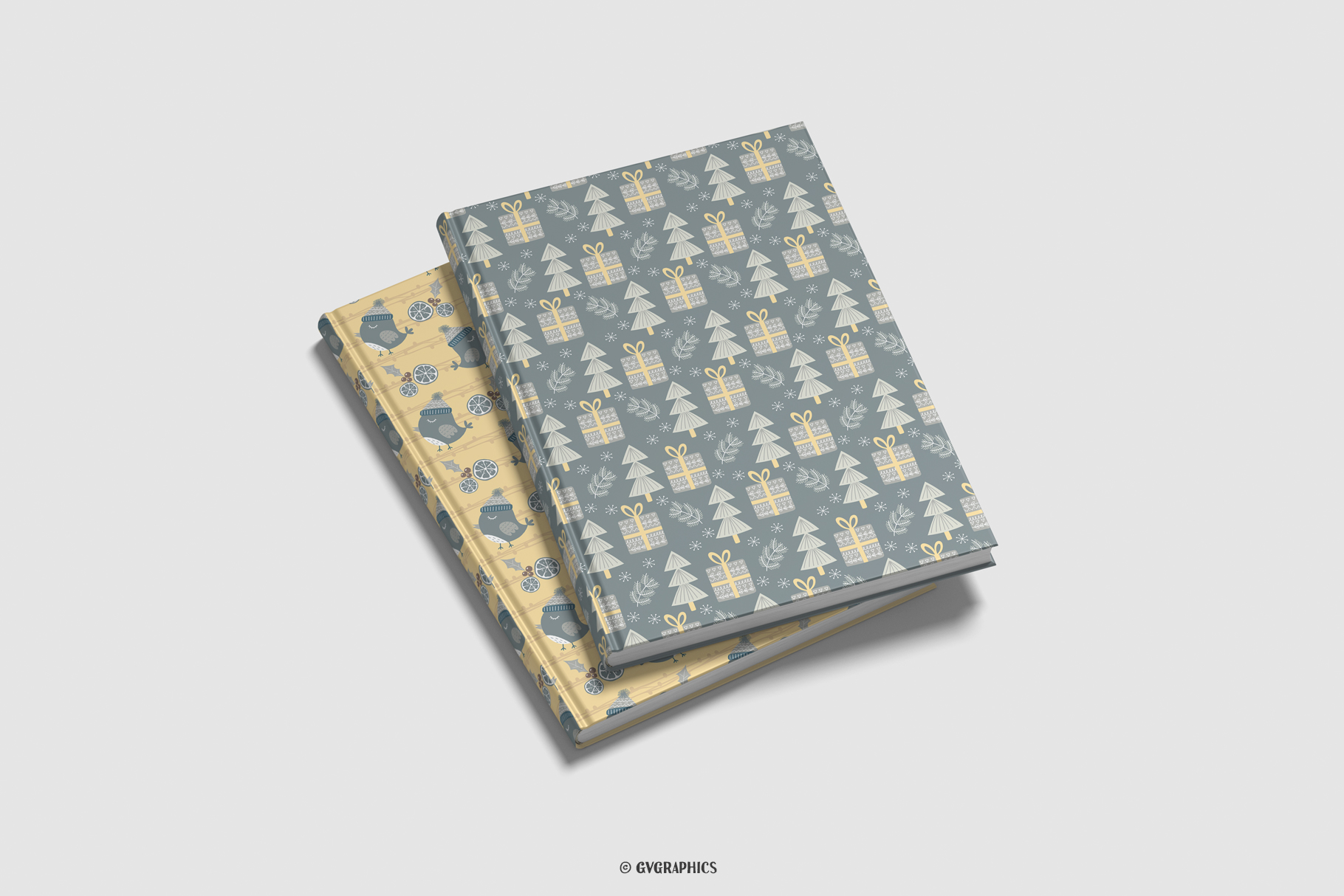 Notebook Cover Made On The Basis Christmas Seamless Patterns.
