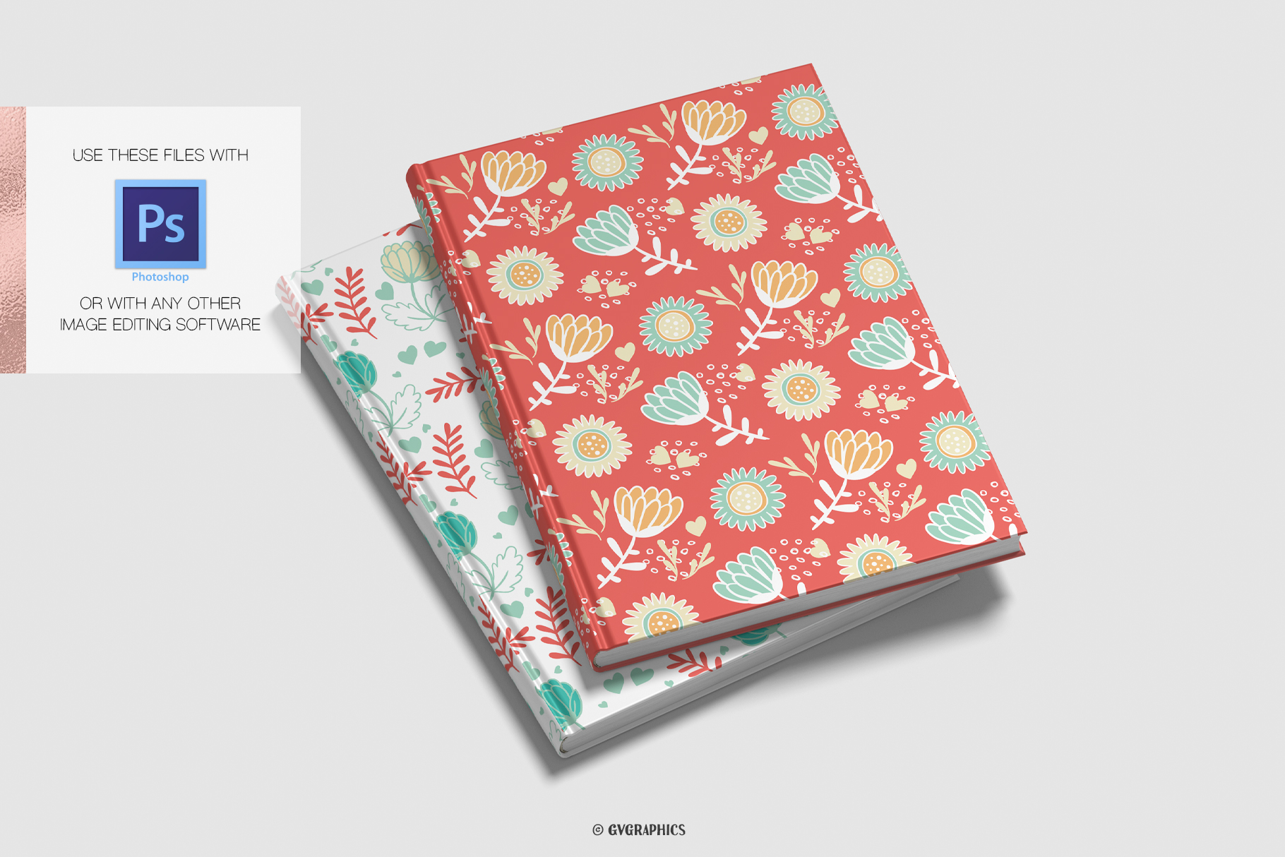 Notebook Cover Made On The Basis Flowers Seamless Patterns.