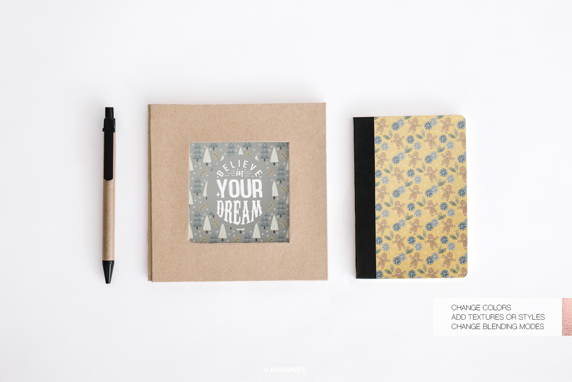 Notebook and Art Poster Made On The Basis Christmas Seamless Patterns.