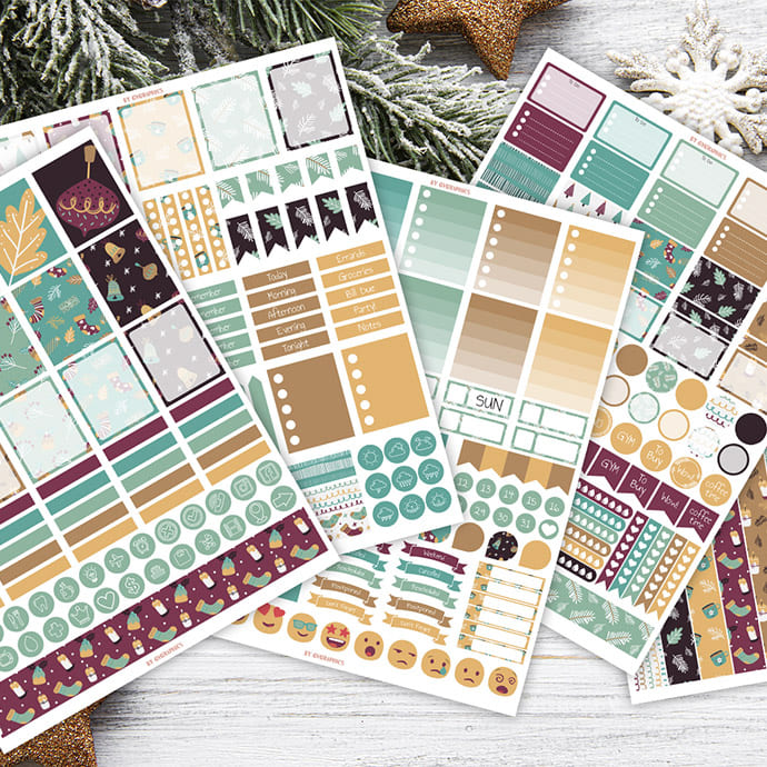 Preview of 5 Sheets of Winter Christmas Sticker Printables.