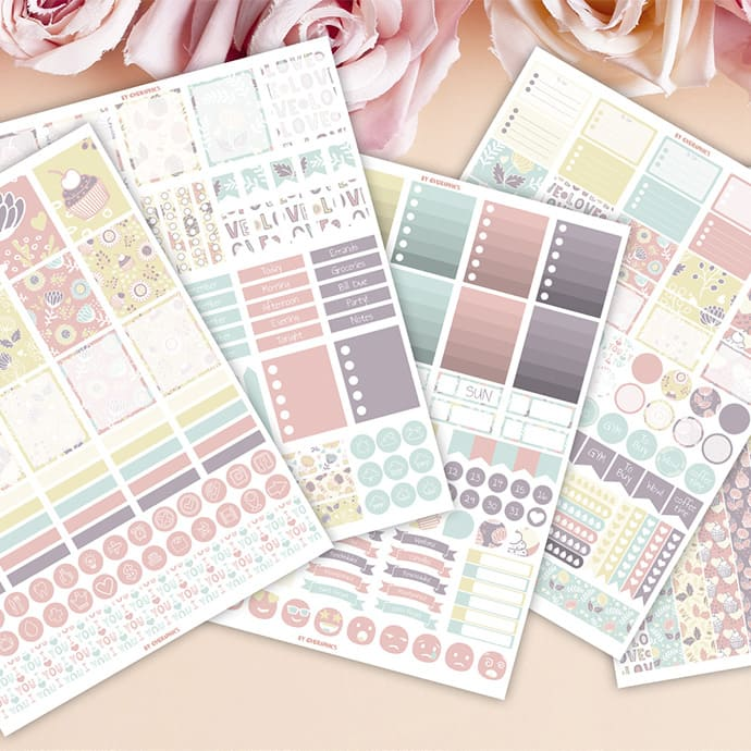 5 Sheets of Valentine's day Sticker Printables by MasterBundles.