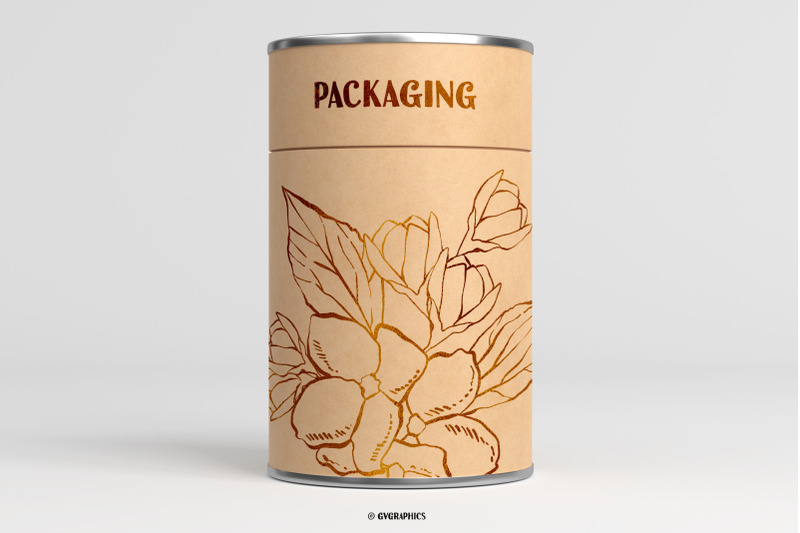 Packaging Made On The Hand Drawn Vector Flowers.