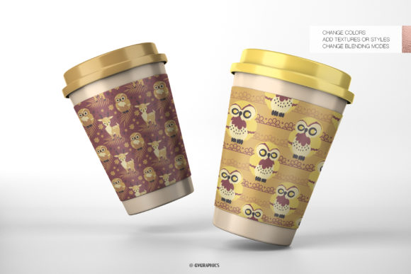 Paper Cups Made On The Animals in the Woods Seamless Patterns.