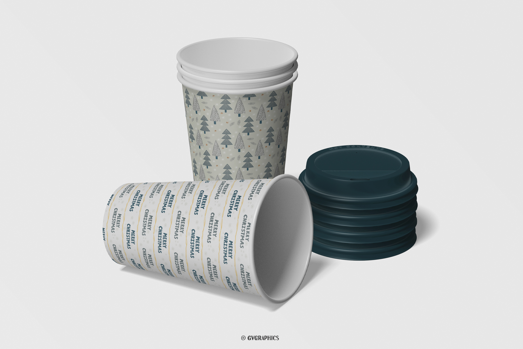 Paper Cups Made On The Basis Christmas Seamless Patterns.