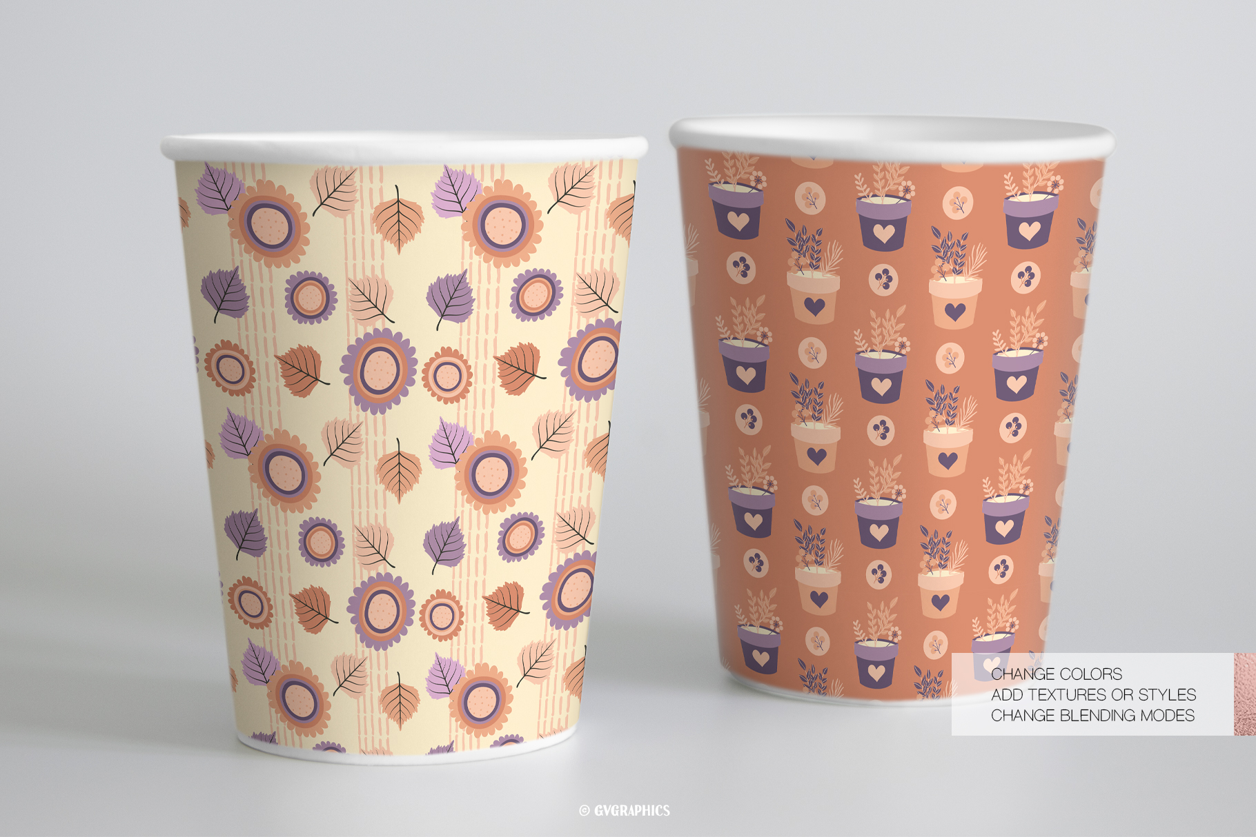 Paper Cups Made On The Basis Elegant Flowers Seamless Patterns