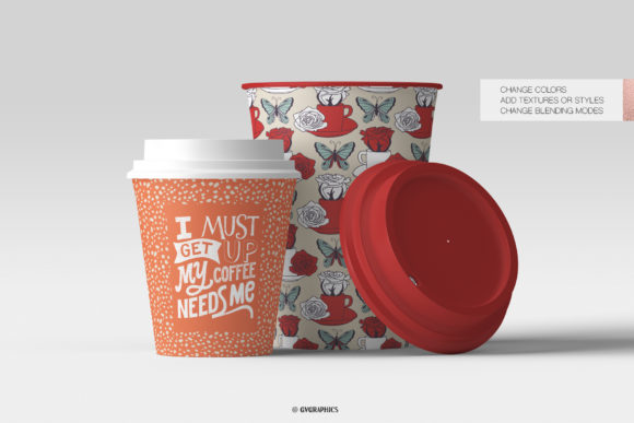 Paper Cups Made On The Butterflies Roses and Strawberries Seamless Patterns.