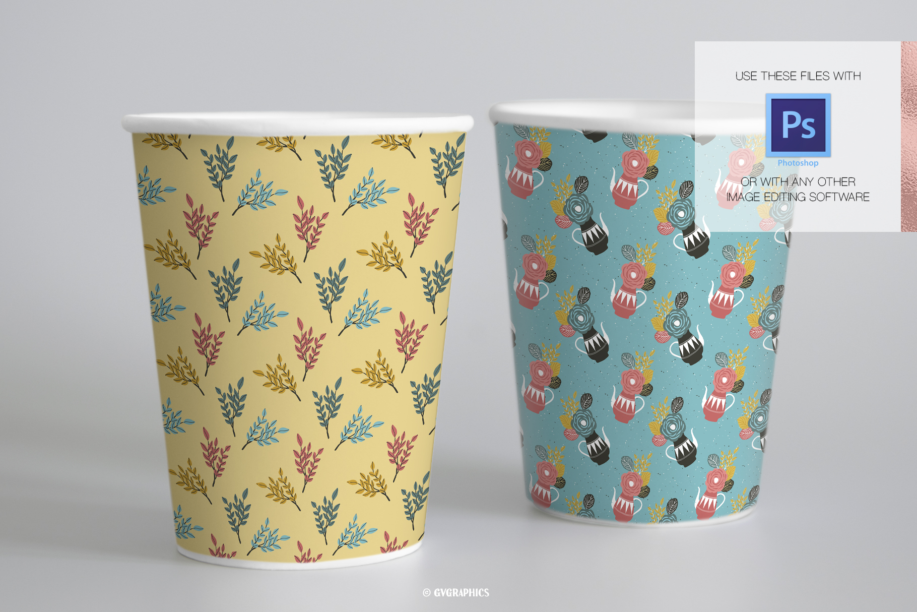Paper Cups Made On The Flowers and Teapots Seamless Patterns.