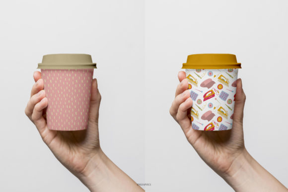 Paper Cups Made On The Sewing Knitting and Flowers Patterns.