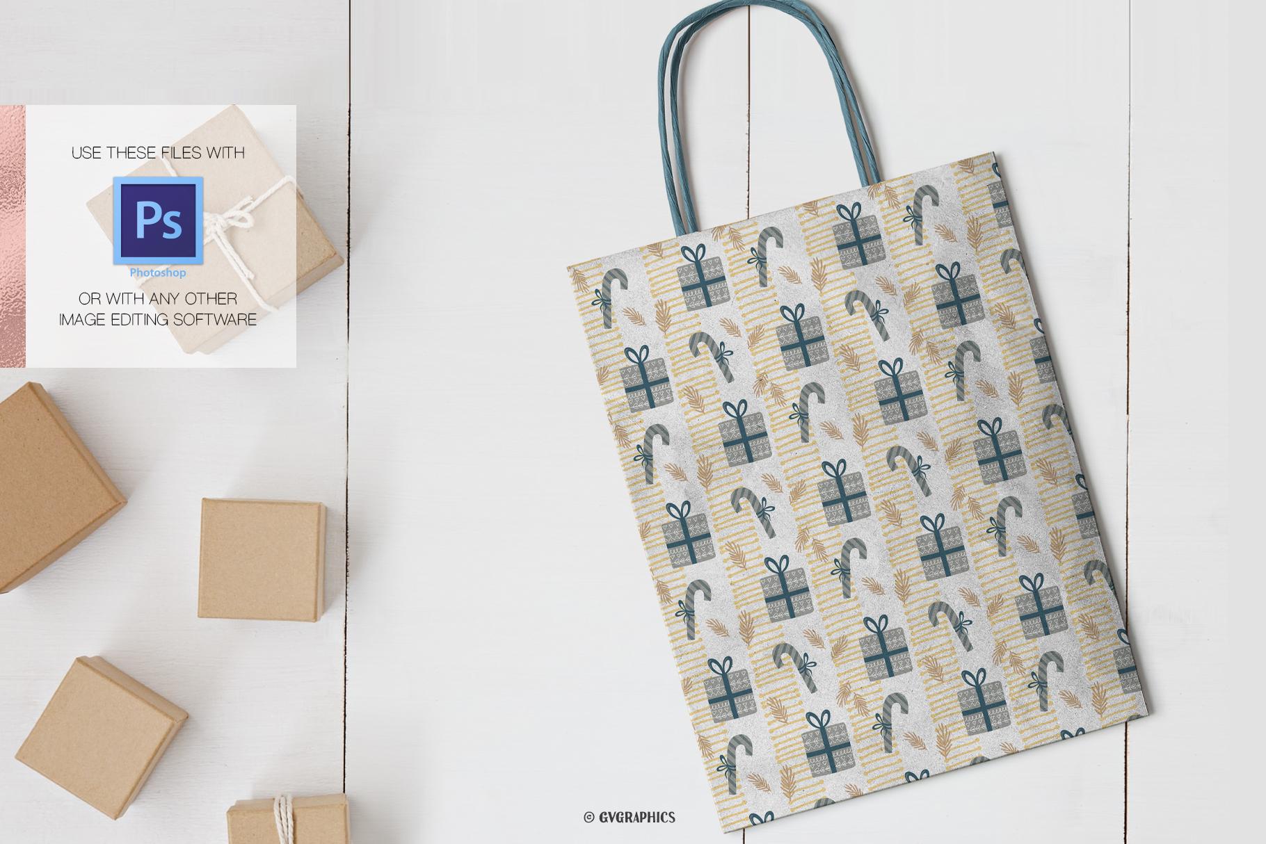 Peper Greeting Bag Made On The Basis Christmas Seamless Patterns.
