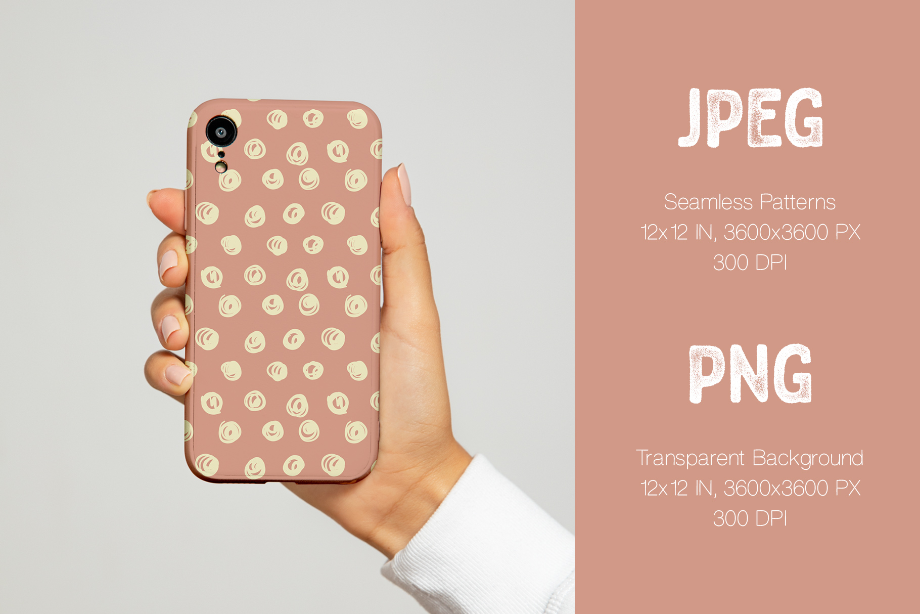Phone Case Made On The Basis Hand Drawn Scribbles Seamless Patterns.