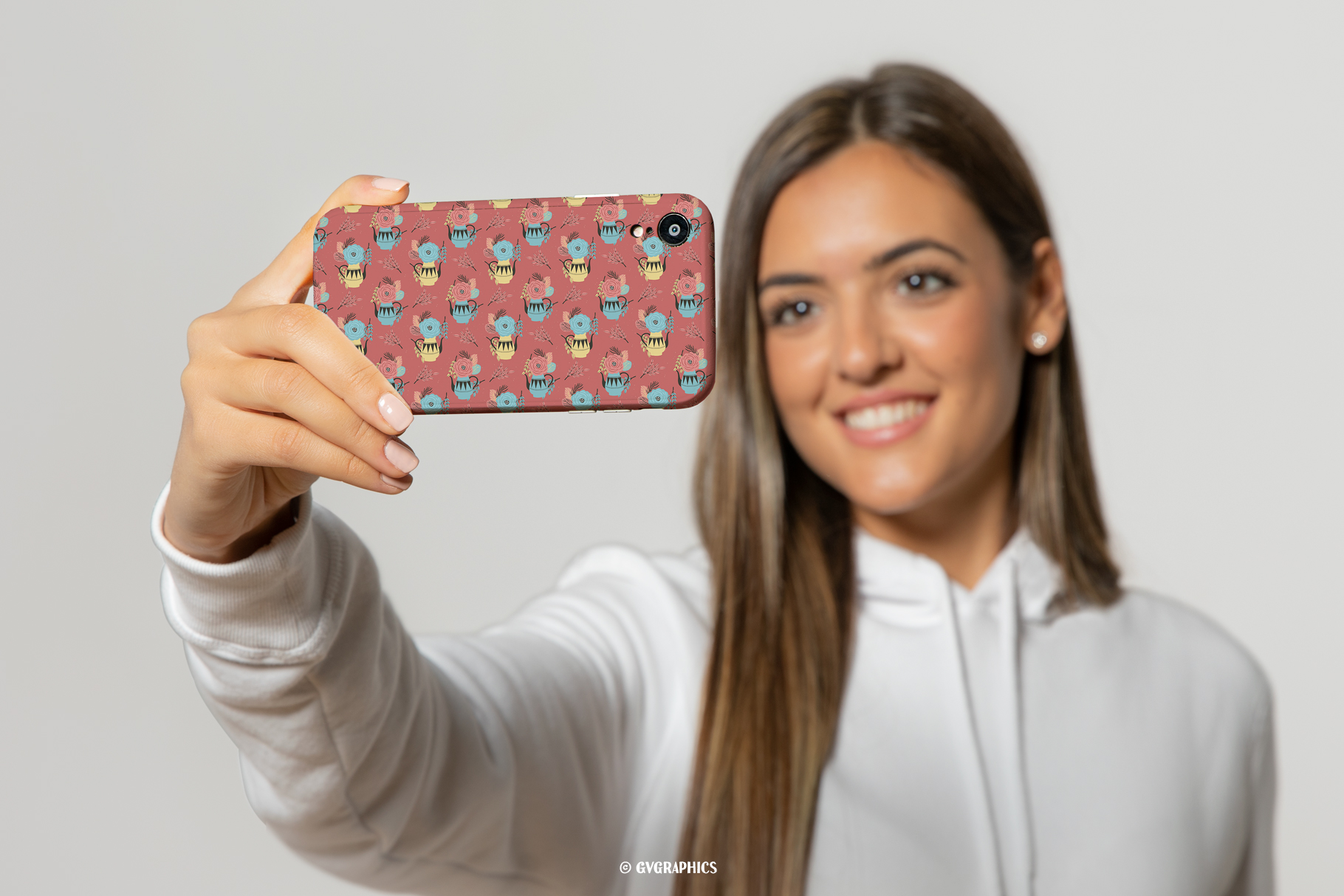 Phone Case Made On The Flowers and Teapots Seamless Patterns.