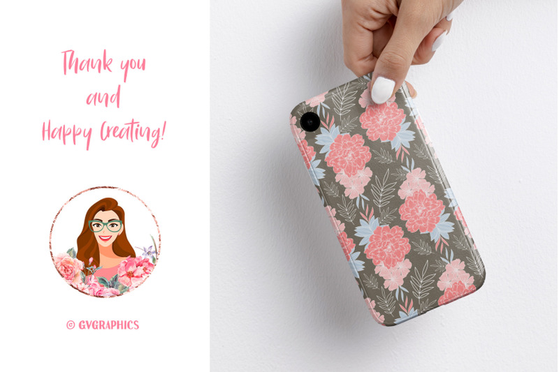 Phone Case Made On The Garden of Joy Floral Backgrounds Seamless Patterns.