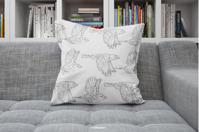 Pillowcase Made On The Hand Drawn Vector Birds.