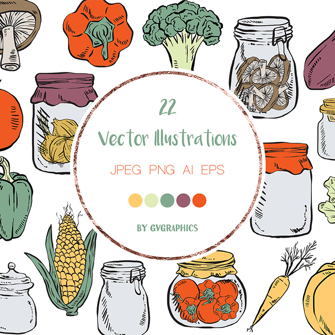 Preview 22 Cartoon Vegetables Illustrations Graphics.