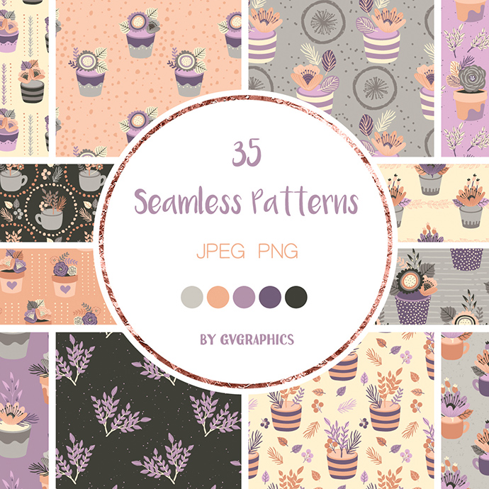 Preview Basis Flowers Seamless Patterns