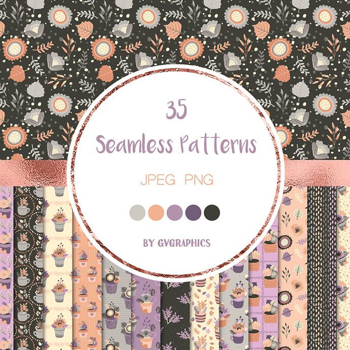 Preview Elegant Flowers Seamless Patterns